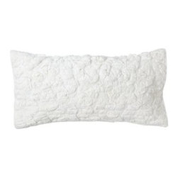 Serena & Lily - Ruched Lumbar Pillow Cover - The matching lumbar pillow offers the same rustic charm in a different size. Strips of soft, white-on-white cotton voile, quilt-stitched on white 100% cotton percale with lofty cotton fill.