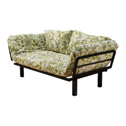 Kodiak Furniture - Spacely Futon Lounger in Lahaina Luau - This amazing Spacely Futon Lounger features black metal frame with 5-position adjustable side arms and mattress in Lahaina Luau finish cover. High density foam provides the highest level of comfort.