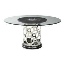 "AICO Furniture - ""Michael Amini"" After Eight 60"" Round Glass Dining Table - Features:"