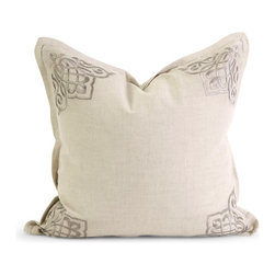 iMax - iMax IK Chenoa Embroidered Pillow w/ Down Fill X-18124 - Iffat Khan has developed a luxurious collection of down pillows with embroidered details and top of the line fabrics. Iffat's refined aesthetic is evident in her collection which combines clean modern, classic casual and timeless traditional styles with her own creative twist.
