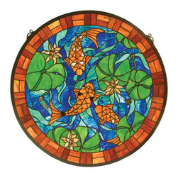 Meyda Tiffany - Meyda Tiffany Koi Pond Tiffany Window X-85528 - As if looking down on a koi pond, this Meyda Tiffany window is a dazzling addition to any window or wall. From the Koi Pond Collection, this charming medallion features vivid shades of blue, green and orange, all of which work together to highlight the intricate detailing and nature-inspired charm.