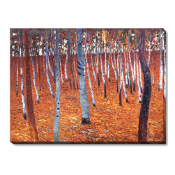 """overstockArt.com - Klimt - Beech Forest I - 36"""" X 48"""" Oil Painting On Canvas Hand painted oil reproduction of a famous Klimt painting, Beech Forest I. The original masterpiece was created around 1902. Today it has been carefully recreated detail-by-detail, color-by-color to near perfection. Gustav Klimt (1862-1918) was one of the most innovative and controversial artists of the early twentieth century. Influenced by European avant-garde movements represented in the annual Secession exhibitions, Klimt's mature style combines richly decorative surface patterning with complex symbolism and allegory, often with overtly erotic content. This work of art has the same emotions and beauty as the original. Why not grace your home with this reproduced masterpiece? It is sure to bring many admirers!"""