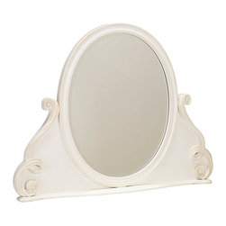 "Lea Industries - Lea Elite Vintage Boutique Vanity Oval Mirror in Vintage White - Vanity Oval Mirror in Vintage White belongs to Elite Vintage Boutique Collection by Lea The Vintage Boutique is a more sophisticated ""Romance"" or ""Princess"" collection that allows this group to fit into a broader age gate.  This girl's group has 12 pieces in a Vintage White finish, featuring tone-on-tone highlighting and textured treatment enhancing the heirloom appearance. Custom designed crystal like hardware completes the design elements of Louie Phillipe and carved cabriole legs, turned pilasters and soft shapes.  Mirror (1)"