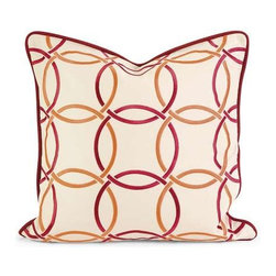 IK Catina Orange Red Embroidered Linen Pillow with Down Fill - Iffat Khan has developed a luxurious collection of down pillows with embroidered details and top of the line fabrics. Iffat's refined aesthetic is evident in her collection which combines clean modern, classic casual and timeless traditional styles with her own creative twist.