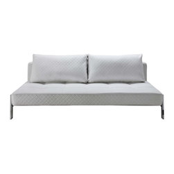 Creative Furniture - Spider White Leather Sofa Bed - Add a stylish and functional touch to your living room with Spider White Leather Sofa Bed! This simple yet multi-functional item is from Creative Furniture. The steel frame has a chrome and black finish showcasing its contemporary style accenting on its unique shape. Ideal for a living, family room or even a bedroom, the sofa bed offers unbeatable style and comfort. Add instant appeal anywhere it's placed!    Features:
