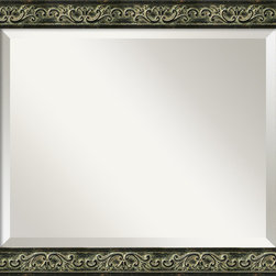 Amanti Art - Green Provencal Scroll Wall Mirror - This mirror features a black colored frame with a washed gold pattern accented by its contrasting smooth gold sides.