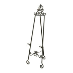 Uttermost - Uttermost Idalee Easel in Distressed Black - This decorative easel is finished in a lightly distressed black with a light tan glaze.