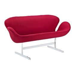 East End Imports - Wing Loveseat in Red - Perhaps no chair is more synonymous with organic design than the Wing chair. First intended as an outstretched reception chair, the piece is expansive like the wings of its namesake. While organic living promotes the harmonious balance between human habitation and the natural world, achieving proper balance is a challenge.
