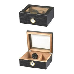 Quality Importers - Capri GT Blk Oak Cigar Humidor - Divided interior for maximum versatility. Simple  clean styling blends with any dTcor. Features gold-plated hidden quadrant hinges  engraveable brass nameplate  plus:  Tempered Glass Top  Holds up to 50 Cigars  1 Round Humidifier  1 Glass Hygrometer with Brass Ring  SureSeal  Technology Insures Proper Lid Seal on Closure  1 Spanish Cedar Divider  Lined with Premium Kiln Dried Spanish Cedar  Gold Plated Hidden Quadrant Hinges Engraveable Brass Nameplate  Scratch Resistant Felt Lined Bottom  Oak Veneer with Ebony Finish  This item cannot be shipped to APO/FPO addresses. Please accept our apologies.