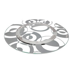"Crystalla Glass - 18"" Lazy Susan Retro Circles - These retro circles utilize a classic positive/negative space flip to capture a vintage design with everlasting appeal."