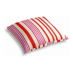 Pink, Orange & White Stripe Custom Outdoor Floor Pillow - Pick up a Simple Outdoor Floor Pillow for your next shindig under the sun. Perfect for an outdoor picnic or Moroccan style cabana party. We love it in this white, coral red and bright pink outdoor stripe that's just hankering for those wide open spaces.
