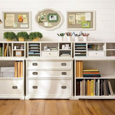 Traditional  white cottage office organization