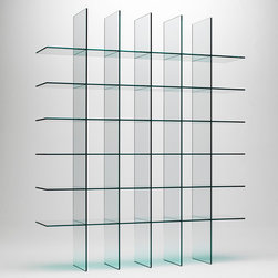 Glas Italia - Glas Italia Glass Shelves 1 Bookshelf - A bookcase characterized by its formal cleanliness and golden proportions. Entirely made of thermo-welded glass, without the aid of any additional support. A historical and iconic product designed in 1976 by Shiro Kuramata. Available only in transparent glass. Price includes shipping to the USA. Manufactured by Glas Italia. Designed in 1976.