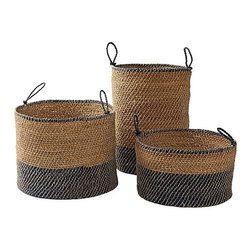Serena & Lily - Laguna Seagrass Baskets Navy (Set of 3) - Beautiful sea grass baskets like these are a great way to hide the unsightly plastic pots from the garden store.