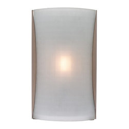 Access Lighting - Radon 1-Light Wall Fixture - Contemporary 1-light rectangle shaped wall fixture brushed steel finish. Available in checkered frosted glass opal glass