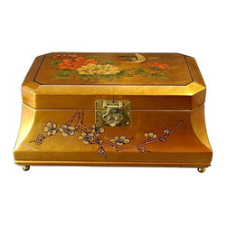 Oriental Unlimted - Adorlee Jewelry Box w Hand-Painted Birds & Fl - Perfect for a unique gift or as a special treat for yourself. Handcrafted by artisans in the Guangdong province of mainland China. Employs classic Chinese finishing techniques. Hand finished in a rich and clear lacquer. Compartment lined with fine red felt with a removable felt ring tray. Brass hardware is clear lacquered to resist tarnish. Gold lacquer with hand painted birds and flowers design. 12 in. W x 8 in. D x 5.5 in. H