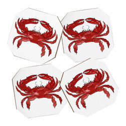 Laura Trevey Red Crab 4 Coasters Set 4 Coasters and Bamboo Holder - Say goodbye to water rings on your furniture and hello to the stylish solution: DENY Designs' Coaster Set. Available in a set of four, you can also opt for the coaster tray to house the set or go the a la carte route. Either way, your glasses are going to get a fun drinking companion!