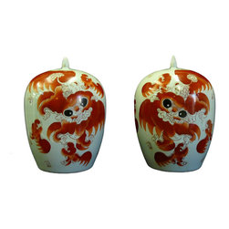 Golden Lotus - Pair Chinese White Porcelain Orange Foo Dog Jars - This is a pair of oriental Chinese small round jars with white base and orange color foo dog graphic.