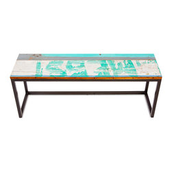 EcoChic Lifestyles - Galley Cat Reclaimed Wood Bench - Snuggle up with your fellow diners on the rustic Galley Cat Bench. Long boards reclaimed from fishing boats still wear their original coats of marine paint. The iron supports that keep the bench steady come from dismantled bridges. Compact and attractive seating for the galley in your home!