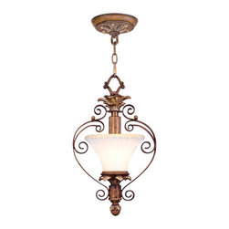 Livex Lighting - Livex Lighting 8421 1 Light 100W Semi-Flush Ceiling Light with Medium Bulb Base - 1 Light 100W Semi-Flush Ceiling Light with Medium Bulb Base and Vintage Carved Scavo Glass from Savannah SeriesProduct Features: