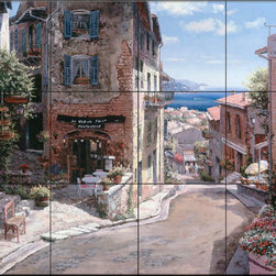 The Tile Mural Store (USA) - Tile Mural - Hauts De Cananes - Kitchen Backsplash Ideas - This beautiful artwork by Sam Park has been digitally reproduced for tiles and depicts a tuscany street scene.  This street scene tile mural would be perfect as part of your kitchen backsplash tile project or your tub and shower surround bathroom tile project. Street scenes images on tiles add a unique element to your tiling project and are a great kitchen backsplash idea. Use a street scene tile mural, perhaps a Tuscan theme tile mural, for a wall tile project in any room in your home where you want to add interesting wall tile.
