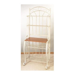 Old Dutch International - Steel Bakers Rack w Wine Rack - Keep your favorite bottles of wine organized or display treasured bottles with this classic steel baker's rack, finished in a linen white powder coat with scrolled accents for added visual interest. Featuring multiple shelves, the traditional bakers rack has a wood shelf and will hold five bottles of wine. Wood finished particle board counter to display plants and picture frames. Two upper display shelves. Large bottom shelf. Five bottle wine rack. Made from powder coated steel. Linen white color. Minimal assembly required. 27.5 in. W x 16 in. D x 68 in. H (29.6 lbs.)