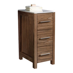 "Fresca - Fresca Torino 12"" Walnut Brown Bathroom Linen Side Cabinet - This side cabinet comes in a walnut brown finish.  It has 3 spacious drawers and a sleek ceramic countertop."