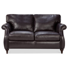 Traditional Living Room Chairs Watson Brown Leather 2 Seat Couch