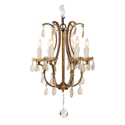 """Aidan Gray - Aidan Gray Lighting Fursdone House Chandelier - Classic and distinctive, the Aidan Gray collection brings to life a passion for all things time worn. The gilded gold Fursdone House chandelier lends the transitional dining room or bedroom lasting elegance. Curving into timeless sophistication, the light fixture's gorgeous hand tied copper frame features dangling crystal accents for a radiating touch. Accepts 25W max bulb (not included) and is hardwired. 14""""W x 14""""D x 20""""H."""