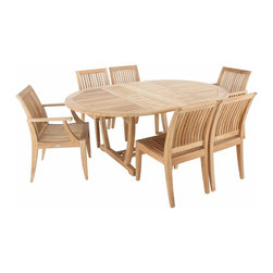 Westminster Teak Furniture - Martinique Laguna Teak Dining Set for 6 - 5pc Martinique Teak Wood Outdoor Dining Set includes 4 Laguna Dining chairs, 2 Laguna Teak Armchairs and one Martinique Extension Table.  Martinique Table is Oval shaped while extended and round when collapsed.