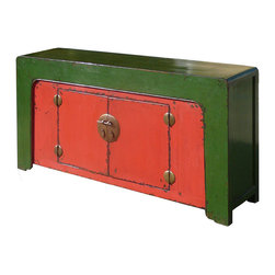 Chinese Antique Red Green Console Buffet Table Cabinet - This is a Chinese antique Red&Green lacquered console table which is hand made of elm wood. It is a narrow piece and won't spend too much space from your room. It is perfect to put your entrance hall way, living room or behind of sofa as console table.