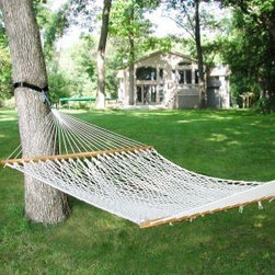 Algoma 13' Single Cotton Rope Hammock - This Single Cotton Rope Hammock has everything you need for a relaxing summer in one complete package! This combo from Algoma Net pairs a cotton rope hammock with a powder coated green stand to bring you hours of enjoyment. Strong, comfortable and enjoy a restful afternoon.