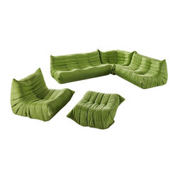 Modway Furniture - Modway Waverunner Sofa Set in Green - Sofa Set in Green belongs to Waverunner Collection by Modway Provide natural comfort at every gathering with a balanced set of functional symmetry. Observe as Waverunner interplays ergonomics with dense foam cushioning to precisely reflect full relaxation. Wander through the pathways of elucidation with a multi-layered environment of intricate folds and holistic positioning. Set Includes: One - Waverunner Armchair One - Waverunner Corner Couch One - Waverunner Loveseat One - Waverunner Ottoman One - Waverunner Sofa Sofa (1), Loveseat (1), Corner (1), Arm Chair (1), Ottoman (1)