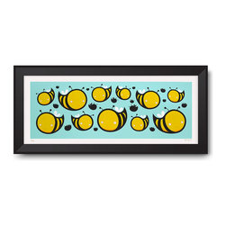 """Warnick Art - Bees Print - My """"Bees"""" print is a 24""""×10"""", 4 color screen prints and is printed on Coventry Rag 290 gsm 100% cotton. Printed by hand by the BLDG, these are signed and numbered with a limited edition of 55 and are unframed. Thanks for looking!"""
