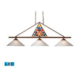 Elk Lighting - Landmark Lighting Designer Classics 3-Light Billiard Light w/ Wood Patina & Whit - 3-Light Billiard Light w/ Wood Patina & White Glass - LED - 800 Lumens belongs to Designer Classics/Billiard/Island Collection by Landmark Lighting The Designer Classics Collection Runs The Gamut From Spirited, Fun-Loving Billiard Lights Inspired By The Game Itself..... To An Array Of Stunning, Rich Designs That Make An Eye Catching Statement For Any Gameroom, Bar Or Kitchen Island. Use In Any Setting Where Optimal Illumination Is Desired. - LED, 800 Lumens (2400 Lumens Total) With Full Scale Dimming Range, 60 Watt (180 Watt Total)Equivalent , 120V Replaceable LED Bulb Included Light Billiard (1)