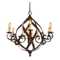 Currey & Company - Currey & Company Gramercy Chandelier - Ingeniously crafted broad wrought iron bands twist and turn to form an oblong body in the lush Gramercy Chandelier. The splendid curves and accompanying adornments are magnified by a warm Mayfair finish, giving it a subtle aged feel.