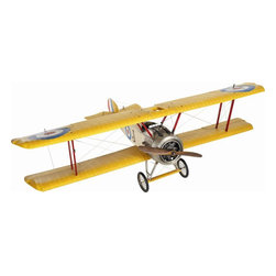 """Authentic Models - Large Sopwith Camel Airplane Model - This large Sopwith camel plane was used many years ago to fill the newspapers and magazines for the day. They were also responsible for shooting down around 1.300 planes during WWI. At a 58.5"""" wingspan, this model is perfect to display in your home or office! Dimensions: 59""""W x 18""""H x 40.25""""."""