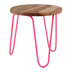 Neon Nightstand, Hot Pink - The Land of Nod carries these darling end tables in both neon pink and yellow. I love the wood top paired with the neon.