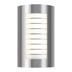 """Kichler - Kichler 6048PSS316 2 Light Outdoor Wall Sconce in Polished Stainless Steel 6048P - This 2 light Polished Stainless Steel Newport Wall Sconce uses simple shapes to create an ultramodern outdoor fixture for your contemporary home.Multi-bulb outdoor wall sconces add a touch of elegance to any landscape Housing is constructed of metal - providing years of reliable performance Fully covered under Kichler's 1-year limited warranty Features Half Cylinder Shaped Glass Shade Pair this sconce with a variety of post lights from the Newport Collection for a coordinated landscape ADA compliant (fixture extends no more than 4"""" from wall mounting surface) Ultra secure mounting assemblyBulb Type: Fluorescent Bulbs Included: No Collection: Newport Country of Origin: China Energy Efficient: No Extends: 3-3 4 Finish: Polished Stainless Steel Height: 15-1 4 Number of Lights: 2 Shade Color: White Shade Material: Glass Shade Shape: Half Cylinder Shade Type: Frosted Socket Type: Medium Style: Contemporary Voltage: 120 Wattage: 30 Weight: 3.3 Width: 9-1 4"""