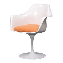 """IFN Modern - Tulip Style Armchair-Orange - Cashmere Wool - The Tulip armchair was designed by Finnish-American designer Eero Saarinen in 1956. At the time, the Tulip Chair was renowned for its """"space-age"""" curves and use of materials. Frivolity and sophistication in one minimalist design. The Tulip range is perfect for a modern pad or to add eclecticism to a more traditional home."""