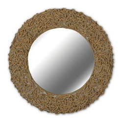 "Seagrass Wall Mirror - 32 diam.in. - Meet a natural beauty – the Seaside 32 in. Natural Seagrass Wall Mirror. This lovely 21"" silver-backed mirror is encircled by a delicate rope frame woven over a sturdy metal support. Whether you've got a nautical, rustic or modern-natural scheme, the Seaside makes a stunning accent piece, especially against lighter colored walls. The mirror has a protective composite wood backing and the frame features two sturdy brackets for quick and easy hanging.About Kenroy HomeFlorida-based, employee-owned Kenroy Home began over fifty years ago as a maker of fine chandeliers. Since that time, the company has evolved and expanded and today also offers quality-crafted lamps, fountains, mirrors and outdoor lighting. Their tag line ""All Together Better"" reflects a dedication to creating a range of beautifully coordinated products all featuring thoughtful design and reasonable pricing."