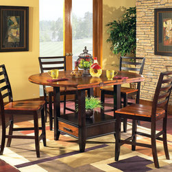 Steve Silver Abaco 5 Piece Drop Leaf 59 Inch Round Counter Height Set -