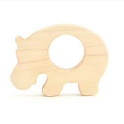 Hippo wooden toy teether - nursery decor - Our natural wooden teethers make wonderful toys for babies at all stages of development: from the time when they are just developing their senses to the time when they can enjoy free play with animal toys. Made out of non-splintering solid maple wood and sanded perfectly smooth, our teething toys are comfortable for children to hold in their little hands and safe to put in their mouths.
