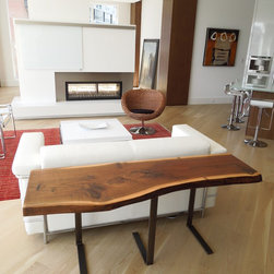 Live Edge Console table - Reclaimed walnut console table with steel base by Wayne Winsand