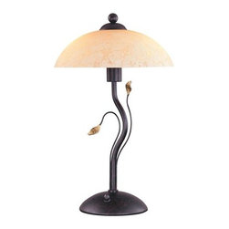 Lite Source - Lite Source C4919 3 Light Table Lamp - 3 Light Table Lamp with Amber Glass Shade from the Nevio Series