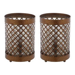 Safavieh - Borden Hurricane Lamp ZMT-LIT4264A (Set of 2) - A glamorous adaptation for transitional rooms, the Borden hurricane lamp is crafted of antique gold pierced metal mesh over an etched and frosted glass shade. This columnar design will light up a dining room or entry hall table in elegant style. (Sold in set of 2).