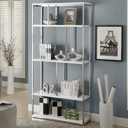 Monarch - Glossy White/Chrome Metal 72in.H Bookcase - Add a modern edge to your home with this sleek polished chrome accented bookcase. Ample storage space with an open feel will give this bookcase a modern appeal and brighten any room.
