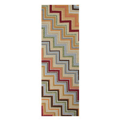 Jaipur Rugs - Stripe Pattern Red /Orange Indoor/ Outdoor Rug - CO05, 2.6x8 - Bring visual pop to outdoor living with the Colours I-O Collection. This energetic range of stripe, zigzag and stair-step designs bring together a myriad of multicolor palettes all in durable, hand-hooked polypropylene construction. With its fashion-forward styles and bold scale, each design can function in a broad range of contemporary and transitional spaces both indoor and out.