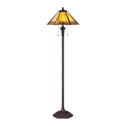 Quoizel - Quoizel TF1135F Arden Tiffany Floor Lamp - This transitional family comes with an authentic bronze patina for the floor & table lamps while the fixtures boast a rich Russet finish.