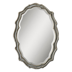 "Uttermost - Uttermost 12832  Dorgali Slate Blue Mirror - This curvaceous mirror features a frame finished in aged, slate blue accented with antiqued silver leaf details and a light gray wash. mirror has a generous 1 1/4"" bevel. may be hung horizontal or vertical."